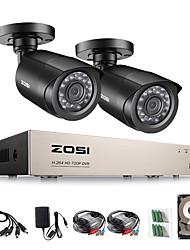 Недорогие -ZOSI H.264 AHD CVI TV DVB аналоговый 4-канальный видеонаблюдения 2шт 1080p наружная защищенная от непогоды камера видеонаблюдения с 720p DVR Kit день / ночь домашняя система видеонаблюдения