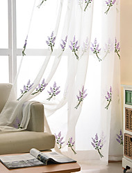 cheap -Two Panel Korean Pastoral Style Lavender Embroidered Yarn Curtain Semi-Transparent Living Room Bedroom Children's Room Yarn Curtain
