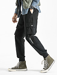 cheap -Men's Sporty Basic Holiday Weekend Slim Cotton Chinos Tactical Cargo Pants - Solid Colored Outdoor Spring Summer Black Army Green Gray US32 / UK32 / EU40 / US34 / UK34 / EU42 / US36 / UK36 / EU44