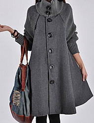 cheap -Women's Solid Colored Patchwork Fall Coat Long Daily Long Sleeve Wool Blend Coat Tops Black