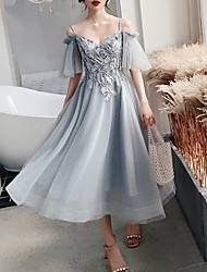 cheap -A-Line Flirty Grey Party Wear Cocktail Party Dress Spaghetti Strap Short Sleeve Tea Length Tulle with Pearls Appliques 2020