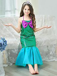 cheap -The Little Mermaid Princess Dress Flower Girl Dress Girls' Movie Cosplay A-Line Slip Vacation Dress Green Dress Children's Day Masquerade Satin / Tulle