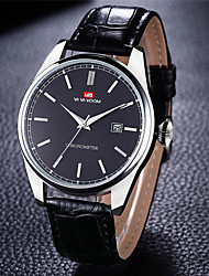 cheap -Men's Dress Watch Quartz Genuine Leather 30 m Water Resistant / Waterproof Calendar / date / day Day Date Analog Fashion Cool - Black Blue Black / Blue One Year Battery Life