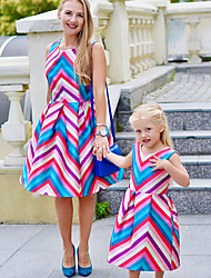 cheap -Mommy and Me Vintage Sweet Blue & White Striped Color Block Print Sleeveless Knee-length Dress Blushing Pink