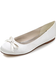 cheap -Women's Wedding Shoes Spring / Summer Flat Heel Round Toe Sweet Wedding Party & Evening Bowknot Solid Colored Satin White / Black / Purple