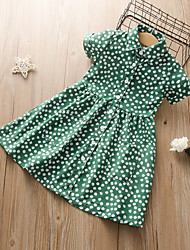 cheap -Kids Girls' Active Cute Polka Dot Floral Solid Colored Print Short Sleeve Midi Dress Green