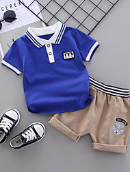 cheap -Baby Boys' Casual Basic Blue & White Striped Patchwork Short Sleeve Regular Regular Clothing Set White