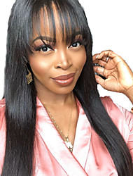 cheap -Human Hair Lace Front Wig Free Part style Brazilian Hair Straight Black Wig 130% Density with Baby Hair Natural Hairline For Black Women 100% Virgin 100% Hand Tied Women's Long Human Hair Lace Wig