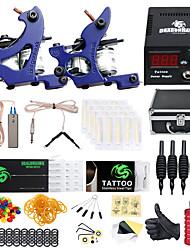 Недорогие -DRAGONHAWK Профессиональный комплект для татуировки Татуировочная машина - 2 pcs татуировки машины LCD питания 2 х Металлическая тату-машинка для контура и заливки / Чехол в комплекте