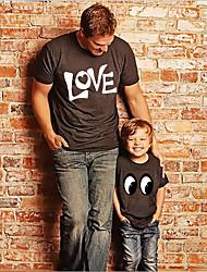 abordables -Papa et moi Actif Basique Graphique Lettre Manches Courtes Normal Tee-shirts Noir
