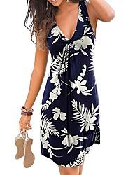 cheap -Women's Sheath Dress - Sleeveless Floral Tie Dye Summer V Neck Sexy Holiday Weekend 2020 Wine White Black Blue Purple Green Royal Blue S M L XL XXL XXXL XXXXL XXXXXL