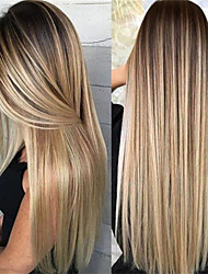 cheap -Synthetic Wig Matte kinky Straight Middle Part Wig Blonde Long Light golden Ombre Pink Ombre Burgundy Ombre Green Ombre Blue Synthetic Hair 26 inch Women's Highlighted / Balayage Hair Dark Roots