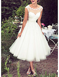 cheap -Ball Gown A-Line Wedding Dresses Jewel Neck Tea Length Lace Tulle Sleeveless Vintage 1950s with Embroidery Appliques 2021