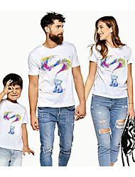cheap -Family Look Active Basic Rainbow Graphic Animal Print Short Sleeve Regular Tee White