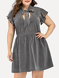 cheap -Women's Plus Size A Line Dress - Short Sleeves Solid Color Ruched Split Summer V Neck Casual Elegant Daily Going out Belt Not Included 2020 Gray L XL XXL XXXL XXXXL