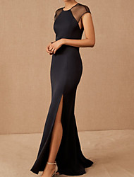 cheap -Mermaid / Trumpet Elegant Minimalist Party Wear Formal Evening Dress Jewel Neck Short Sleeve Sweep / Brush Train Spandex with Split 2020