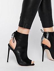 cheap -Women's Sandals Heel Sandals Summer Stiletto Heel Peep Toe Daily PU Black