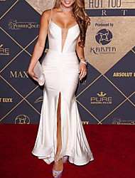 cheap -Mermaid / Trumpet Elegant Celebrity Style Party Wear Prom Dress V Neck Sleeveless Floor Length Satin with Split 2020