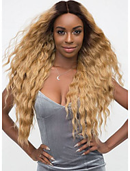 cheap -Remy Human Hair Lace Front Wig Free Part style Indian Hair Wavy Blonde Wig 150% Density with Baby Hair Color Gradient Natural Hairline with Clip Women's Long Human Hair Lace Wig Premierwigs