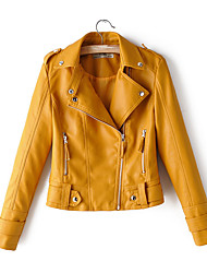 cheap -Women's Daily Short Jacket, Solid Colored Notch Lapel Long Sleeve Polyester Yellow / Blushing Pink / Red