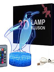 cheap -Penguin White Base Lovely 16 Color Change 3D Lamp Novelty Kids Room Led Lamp Decorations Gift for Baby Room Lights