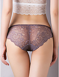 cheap -Women's Lace / Basic Brief - Normal Mid Waist Wine Purple Red One-Size