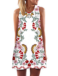 cheap -Women's Shift Dress - Sleeveless Floral Geometric Color Block Summer Casual Party Going out 2020 White Black Blue Yellow Blushing Pink Green S M L XL XXL
