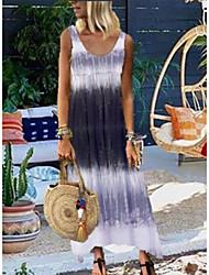 Недорогие -Жен. Платье на бретелях Длинное платье - Без рукавов Узоры тай-дай Лето На каждый день Муму 2020 Синий Красный Серый S M XL XXL XXXL XXXXL XXXXXL
