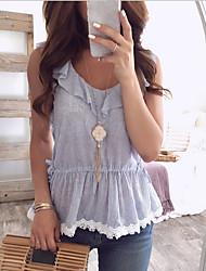 cheap -Women's Striped Blouse - Cotton Daily Weekend Blue