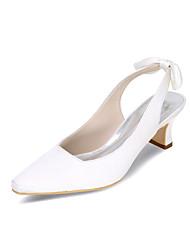 cheap -Women's Heels Wedding Shoes Block Heel Square Toe Minimalism Wedding Party & Evening Satin Satin Flower Solid Colored Summer White Black Purple