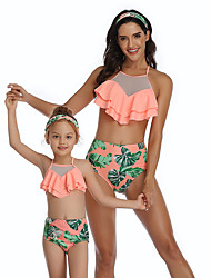 cheap -2 Piece Mommy and Me Active Sweet Tropical Leaf Floral Color Block Ruffle Patchwork Print Sleeveless Short Above Knee Swimwear Orange