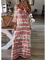 cheap -Women's Plus Size Maxi long Dress - Long Sleeve Tie Dye Print Spring Summer V Neck Casual Holiday Vacation Loose 2020 Black Blushing Pink Khaki Green Dusty Blue Gray S M L XL XXL XXXL XXXXL XXXXXL