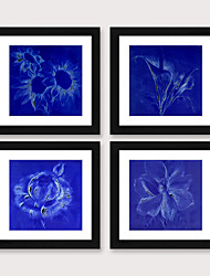 cheap -Framed Art Print Framed Set 4 Blue Abstract Flower PS Illustration Wall Art Ready To Hang