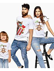 abordables -Regard de la famille Actif Basique Graphique Animal Imprimé Manches Courtes Normal Tee-shirts Blanche