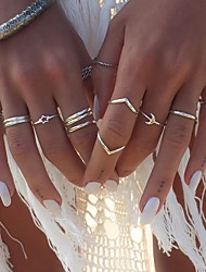 billige -Dame Ring Set 12pcs Sølv Legering Sirkelformet Bohem Gate Smykker