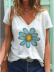 preiswerte -Damen Blumen T-shirt Alltag Weiß