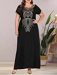 cheap -Women's Plus Size Maxi Shift Dress - Short Sleeves Solid Color Lace Embroidered Summer Casual Elegant Daily Going out Loose 2020 Black L XL XXL XXXL