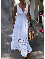 cheap -Women's Maxi A Line Dress - Sleeveless Solid Color Summer V Neck Elegant 2020 White Black Yellow S M L XL