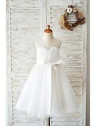 cheap -Ball Gown Knee Length Wedding / Birthday Flower Girl Dresses - Lace / Tulle Sleeveless Jewel Neck with Lace / Belt