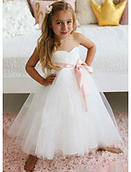 cheap -A-Line Knee Length Wedding / Party Flower Girl Dresses - Lace / Tulle Sleeveless Jewel Neck with Sash / Ribbon / Tier