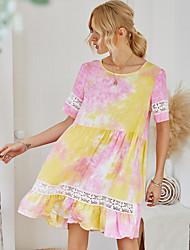 Недорогие -Жен. Платье A-силуэта Мини-платье - Короткие рукава Узоры тай-дай Лето На каждый день 2020 Желтый S M L XL