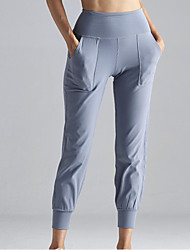 cheap -Women's High Waist Yoga Pants Side Pockets Cropped Pants 4 Way Stretch Breathable Moisture Wicking Dark Gray Blue Nylon Non See-through Gym Workout Running Fitness Sports Activewear Stretchy Loose