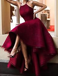 cheap -A-Line Minimalist Vintage Engagement Formal Evening Dress Halter Neck Sleeveless Asymmetrical Lace with Sleek 2020