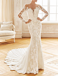 cheap -Mermaid / Trumpet Wedding Dresses V Neck Sweep / Brush Train Chiffon Lace Long Sleeve Half Sleeve Vintage Sexy Wedding Dress in Color See-Through Backless with Embroidery Appliques 2021