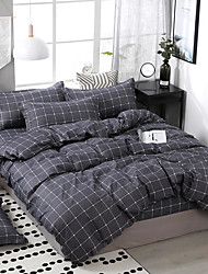 cheap -Grey Grid Bedding Sets Duvet Cover Sets Cotton Bedding Grey Grid Plaid Geometric Modern Pattern Printed on White with Zipper Closure