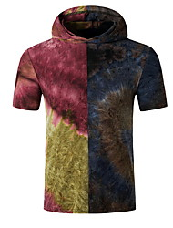 cheap -Men's Tie Dye Print Slim T-shirt Basic Daily Hooded Purple / Red / Short Sleeve