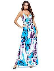זול -בגדי ריקוד נשים שמלה בגזרה ישרה שמלת מקסי - ללא שרוולים פרחוני קיץ סקסי בוהו 2020 קשת S M L XL XXL