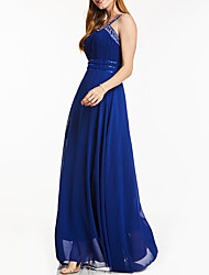 cheap -A-Line Elegant Sparkle Prom Formal Evening Dress Halter Neck Sleeveless Floor Length Chiffon with Sequin 2020