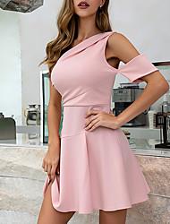 Недорогие -Жен. А-силуэт Платье - Без рукавов Сплошной цвет Молния Лето На одно плечо Формальная Элегантный стиль Праздники Пляж 2020 Розовый S M L