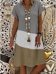 cheap -Women's A-Line Dress Knee Length Dress - Short Sleeve Color Block Patchwork Summer V Neck Casual Vintage Daily Belt Not Included Oversized 2020 Black Red Gray M L XL XXL XXXL XXXXL XXXXXL